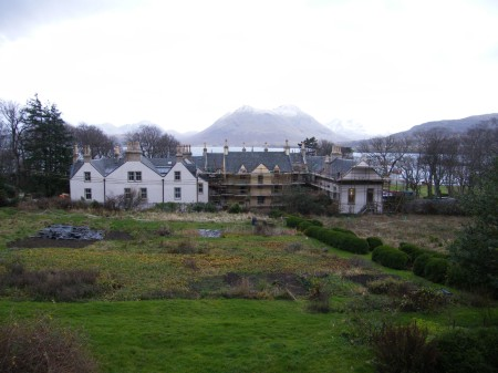 The rear of Raasay house and it's garden