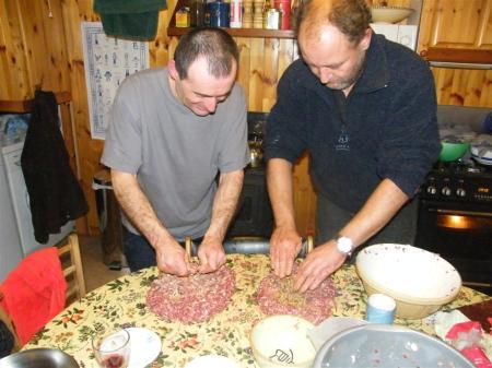 Mixing sausage meat
