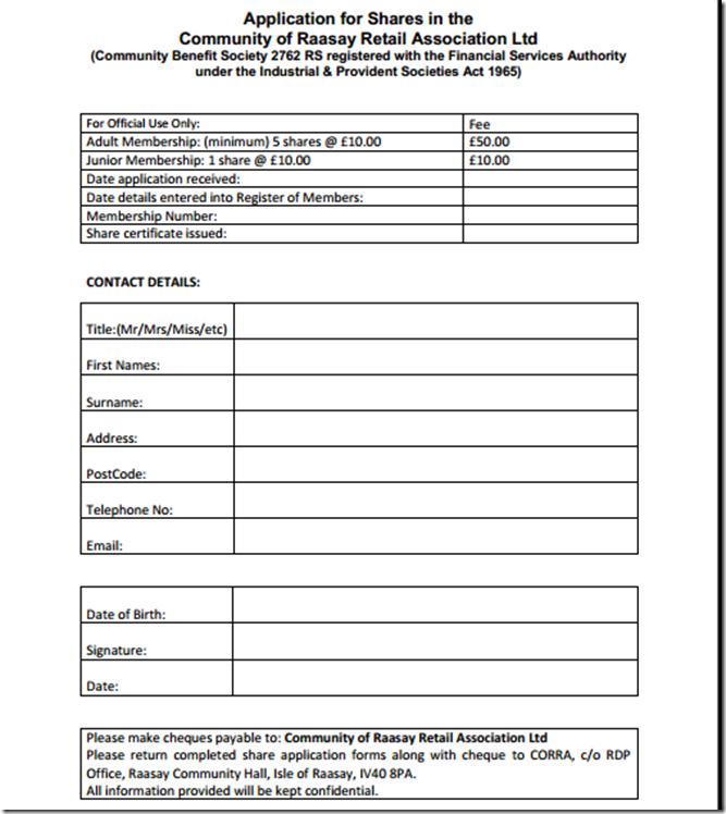 shares form
